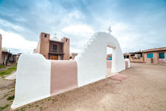 Taos Pueblo - remarkable example of a traditional type of architectural ensemble from the pre-Hispanic period of the Americas. Adobe settlement – royalty free stock image