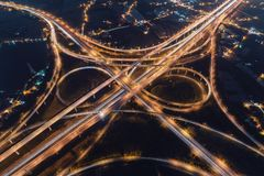 Taoyuan International Airport System Interchange Aerial View at Night. Traffic concept image, panoramic birds eye view use the drone, shot in Taoyuan, Taiwan Royalty Free Stock Photos