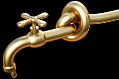 Tap. Tied in a knot golden tap. a drop of gold flowing from the tap Royalty Free Stock Photography