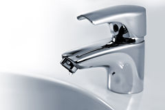 Tap. Chrome tap with water drop Stock Photos