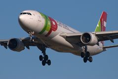 TAP A330. TAP Air Portugal Airbus A330 about to land. TAP may be purchased soon by a larger carrier Royalty Free Stock Photos