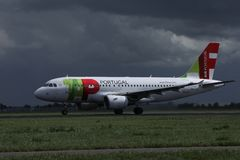 TAP Air Portugal plane on runway in Amsterdam Airport Schiphol AMS stock image