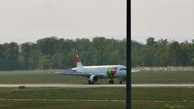 TAP Air Portugal plane on runway in Frankfurt Airport, FRA. Germany stock video footage