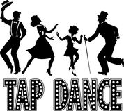Tap dance silhouette banner. Black silhouette with retro style lettering and four performers dressed in vintage fashion, no white, EPS 8 Royalty Free Stock Photos