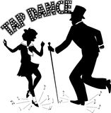 Tap Dance Teacher. Black vector silhouette of a man in a top hat and with a cane teaching little girl in a sailor dress dancing, music notes flying from under Stock Image