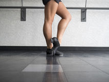 Tap Dancer at the barre. Ready for dance class Royalty Free Stock Photo