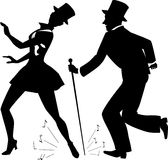 Tap dancers in top hats silhouette Stock Photos