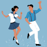 Tap Dancing couple. Young couple dressed in vintage fashion tap-dancing, music notes flying from under their feet, vector illustration, no transparencies, EPS 8 Stock Photos