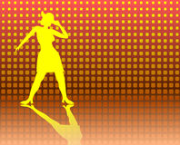 Tap Dancing Lady on a Jazzy Background. Yellow silhouette of a lady doing tap dancing on a jazzy background Royalty Free Stock Images