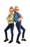 Tap Dancing Nerd Buddies. Two preteen buddies in tap dancing nerd duet Royalty Free Stock Photography