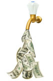 Tap with dollars flowing out Royalty Free Stock Photography