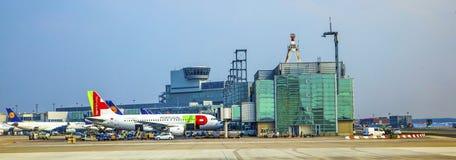 TAP Flight ready to head to runway. FRANKFURT, GERMANY - MAR 28: TAP Flight ready to head to runway on March 28, 2013 in Frankfurt, Germany. New Terminal A is Royalty Free Stock Photo