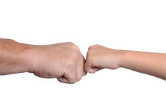 Tap Knuckles. Father and daughter tapping knuckles isolated white background Stock Image