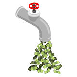 Tap with money. Cash flow from  pipe. Dollars flow. Endless Prof Stock Photos