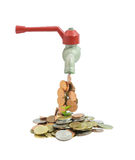 Tap with money falling on a white background. Tap with money falling on isolate white background Royalty Free Stock Photo