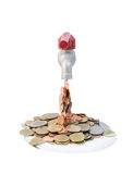 Tap with money falling on a white background. Tap with money falling on isolate white background with clipping path Royalty Free Stock Photography