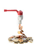 Tap with money falling on a white background. Tap with money falling on isolate white background with clipping path Stock Photography