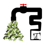 Tap with money. Oil derrick pumps cash. Revenue from sale of pet Royalty Free Stock Images