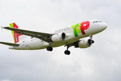 TAP Portugal Airbus A319. Taking off from Manchester Airport stock image