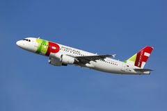 TAP Portugal Airbus A320 airplane Royalty Free Stock Photos