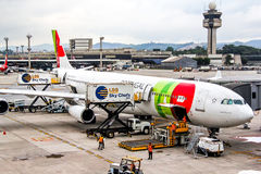 TAP Portugal Airbus A340. SAO PAULO, BRAZIL - NOVEMBER 25, 2015: TAP Portugal Airbus A340 during the boarding in the Guarulhos International Airport Stock Image
