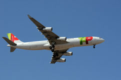 Tap - Portugal Airline - Plane. Tap - Portugal Airline descending for landing Stock Image