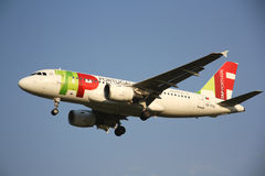 TAP Portugal Airlines aircraft. Airbus 319 approaching to landing at Brussels International Airport, Belgium Stock Image