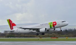 TAP Portugal flygbuss A319 Royaltyfria Foton