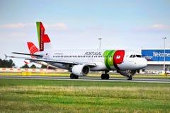 TAP Portugal flygbuss royaltyfri bild