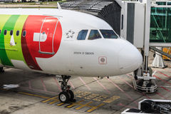 TAP Portugal jet at gate Stock Image