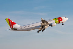 TAP. PRAGUE, CZECH REPUBLIC - MARCH 31: Airbus A330 of TAP Portugal take off from PRG Airport in Prague on March 31, 2017.TAP Portugal is the flag carrier stock images