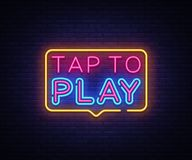 Tap to Play sign vector design template. Tap to Play neon logo, light banner design element colorful modern design trend. Night bright advertising, bright sign Royalty Free Stock Photo