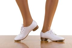 Tap-Top Steps; isolated. Tap-Top/Clog dance side steps; close up, on white Royalty Free Stock Photo