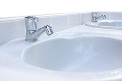 Tap and washing sink wet water Royalty Free Stock Photography