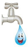 Tap and water drop. Illustration of a tap and water on a white background Royalty Free Stock Photos
