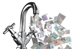 Tap water with English banknotes Royalty Free Stock Image