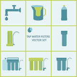 Tap water filter icon set. Drink water purification filters Royalty Free Stock Photo