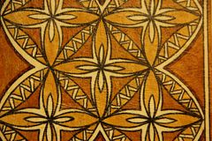 Tapa Cloth. A traditional design made on Tapa Cloth for sale at the souvenir market of Pago Pago on the island of Tutuila in American Samoa Royalty Free Stock Image