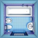 Tapa del azul del cuarto de baño Foto de archivo