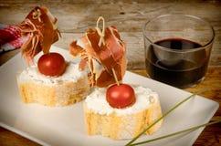 Tapa espagnol de jambon Photos libres de droits