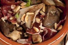 Tapa espagnol, jamon d'escroquerie de soies Photos stock