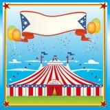 Tapa grande del circo rojo y azul