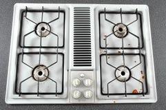 Tapa sucia de la estufa Foto de archivo libre de regalías