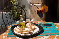 Tapa on sunny terrace Royalty Free Stock Photography
