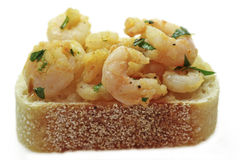 tapas μαγιάς γαρίδων σκόρδου ψωμιού Στοκ Εικόνες