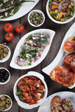 Tapas, antipasto, meze. Tapas, antipasto or meze, traditional mediterranean cold buffet food Royalty Free Stock Images