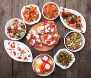 Tapas, antipasto, meze. Tapas, antipasto or meze, traditional mediterranean cold buffet food Stock Photos