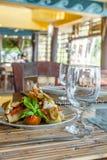 Tapas appetizer in small outdoor restaurant Stock Photos