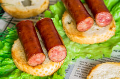 Tapas appetizer with smoked sausage Stock Photography