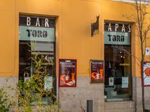 Tapas bar in Madrid - typical for Spain royalty free stock image